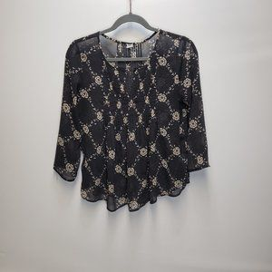 Old Navy blouse Size extra small Charcoal grey tan